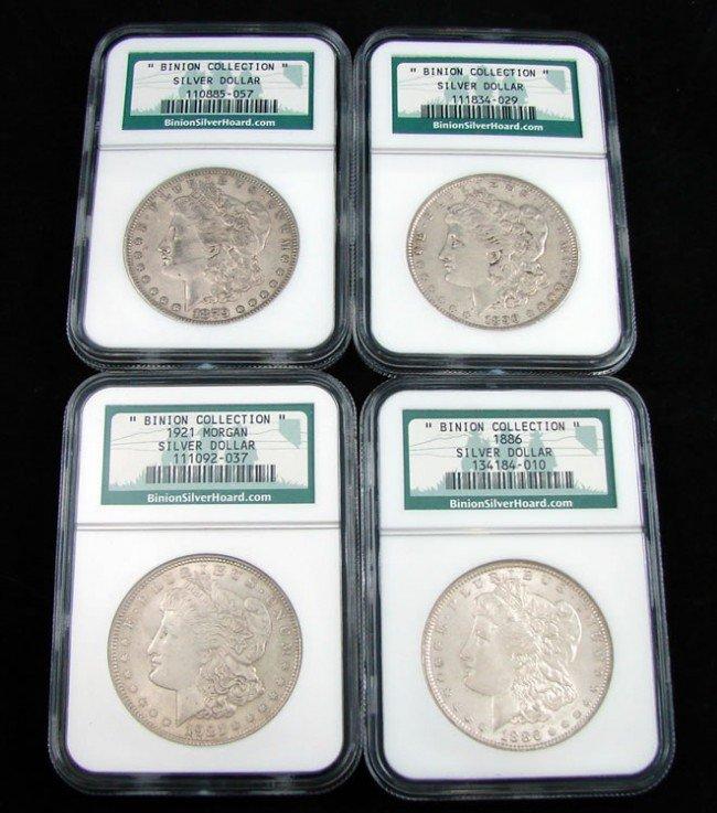 """12: Four """"Binion Collection"""" Morgan Silver Dollars"""