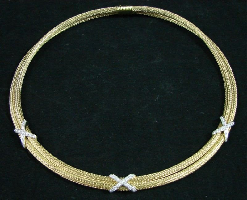 3: 14k Diamond double rope necklace: approx 2 OZT
