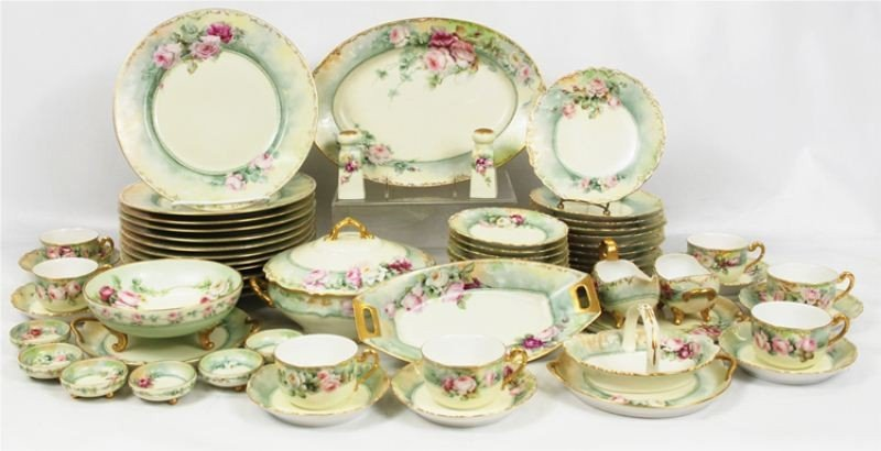 70: Fine Hand Painted French Limoges China Set