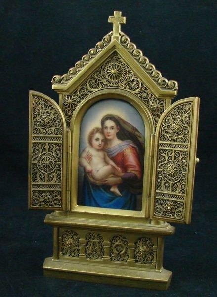 110: German Gilt Bronze Porcelain Triptych Icon plaque
