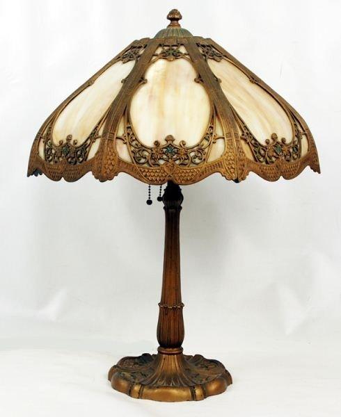 117: Art Nouveau Slag Glass Panel Lamp