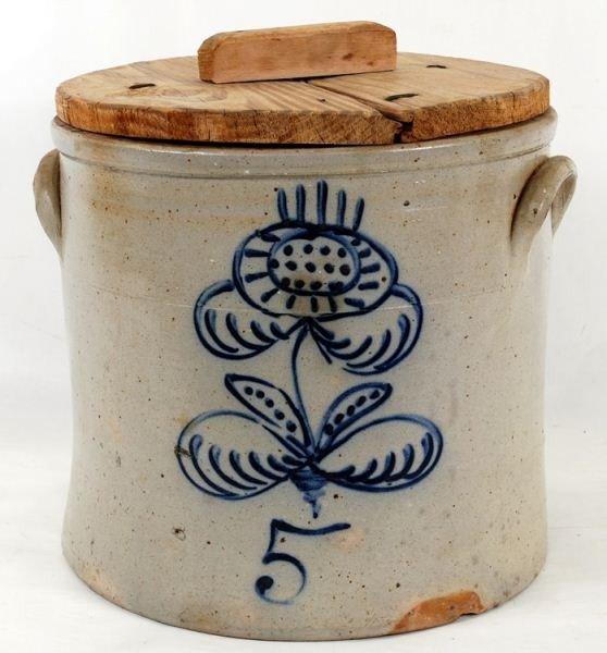 120: 5 gallon Cobalt Decorated Blue Stoneware Crock