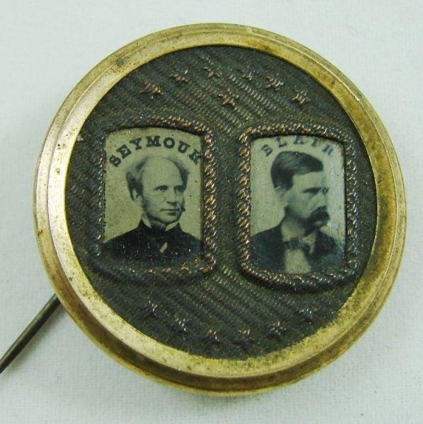 127: Seymour / Blair Ferrotype Jugate Campaign Pin