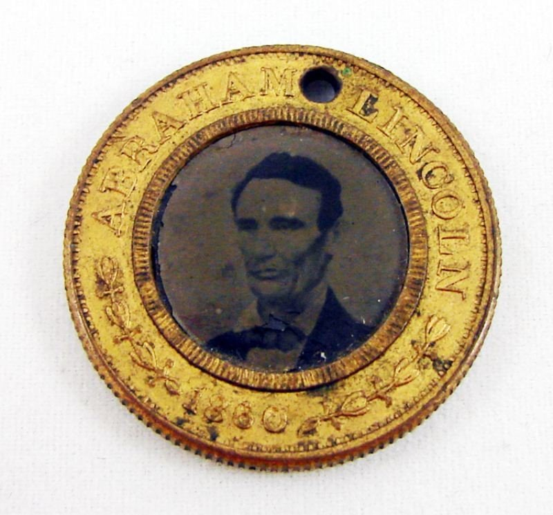 128: 1860 Abraham Lincoln Campaign Ferrotype Token