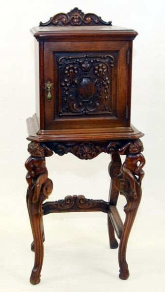 2: Copper Lined Carved Walnut Humidor