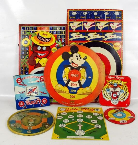 3: Group of 8 Tin Litho Target Game boards