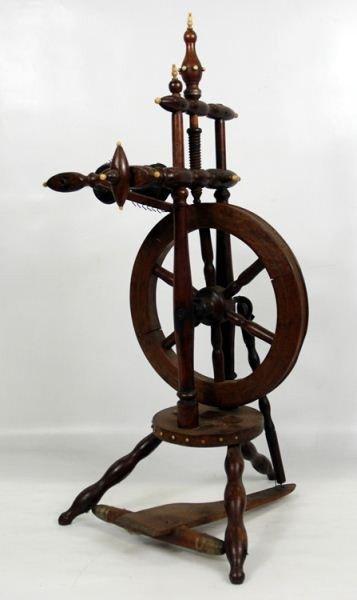 5: 19th C. Turned wood & Bone mounted spinning wheel