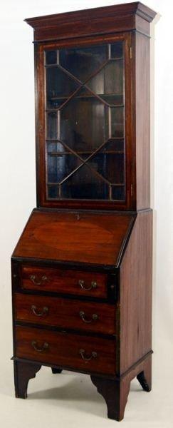 7: Diminutive Georgian Style Bookcase Secretary Desk