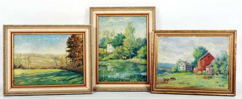 9: Louis A. Gudebrod: 3 Oil on Board Landscapes