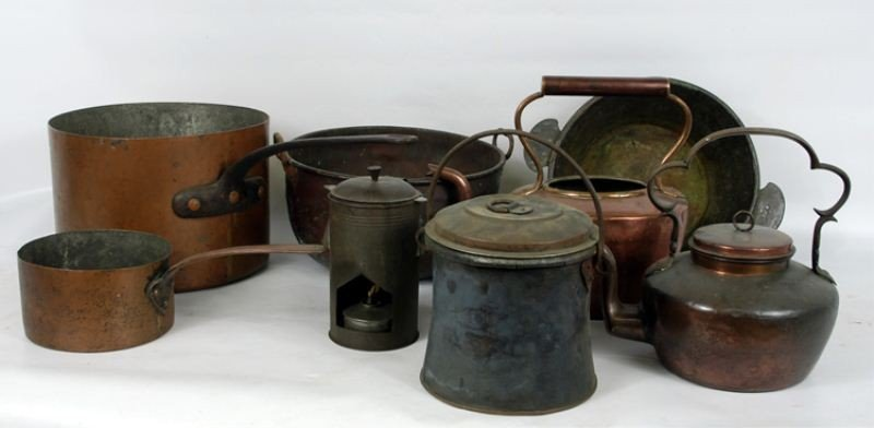 10: 8 pcs of early copper and tin cookware