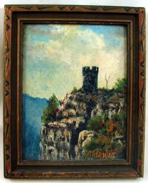 12: Miniature Oil on Board of Castle Craig, Meriden CT