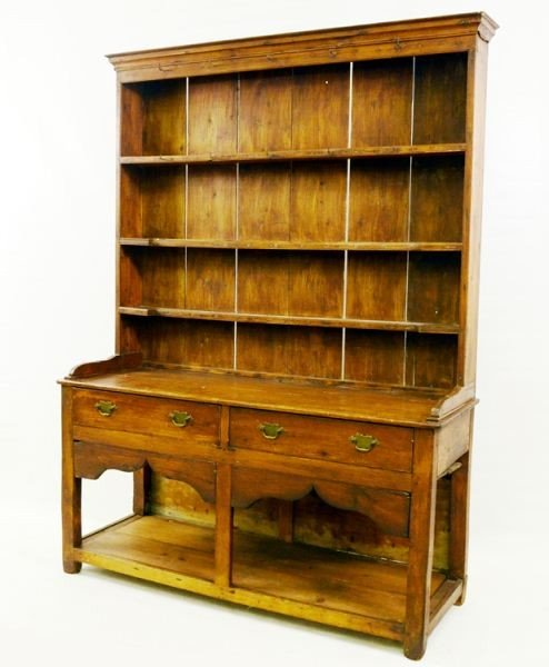 16: Country Pine step back pewter hutch