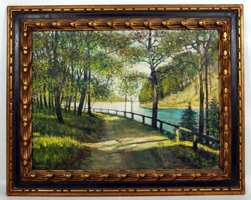 17: John Backstrom Oil on Canvas: Road to Castle Craig