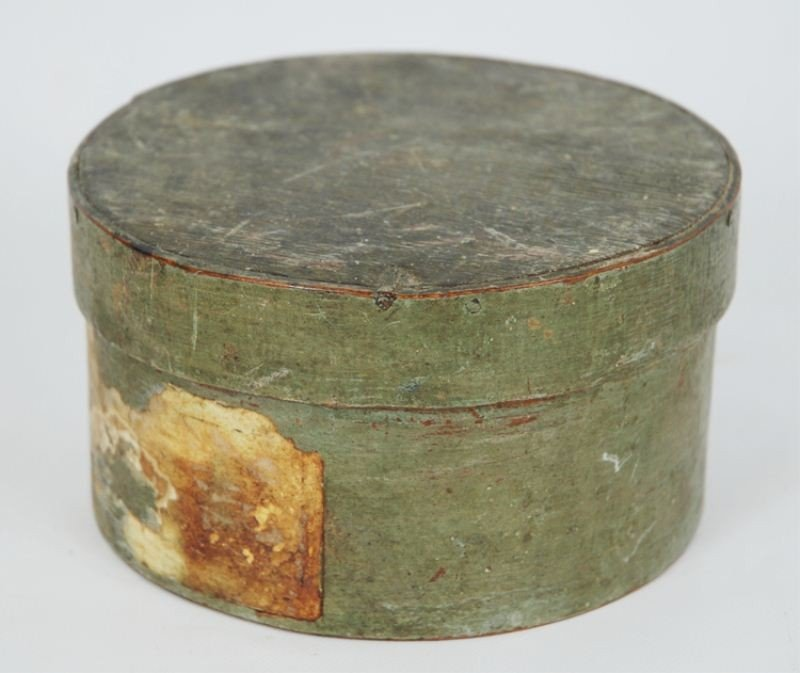 22: Antique Green Painted Pantry Box