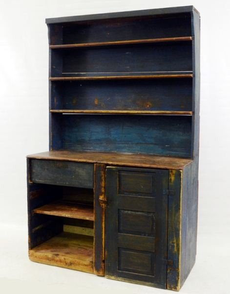23: Blue Painted Country Stepback Cupboard