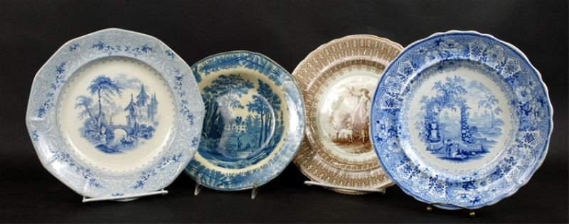 24: Four piece Staffordshire plate lot, Wedgwood, etc