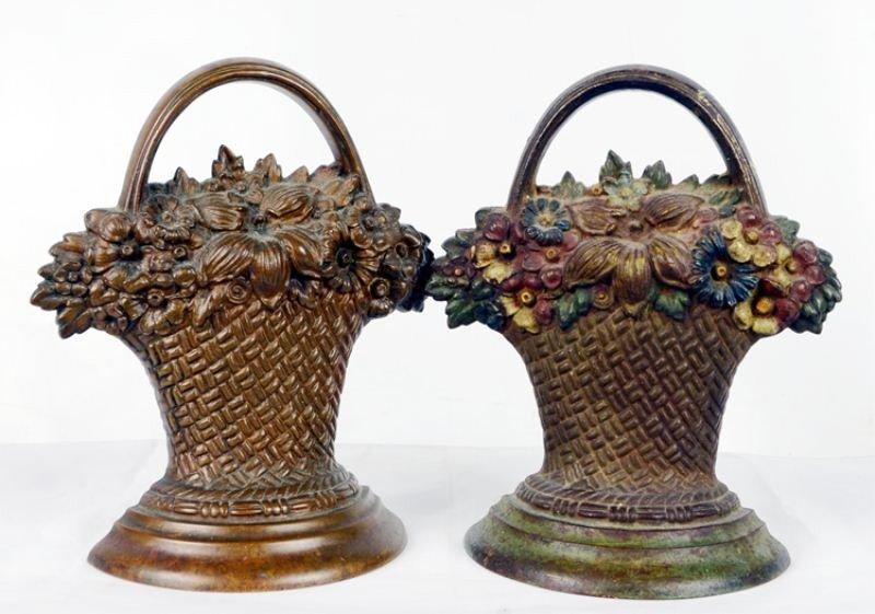 8: Two Bradley & Hubbard flower basket doorstops