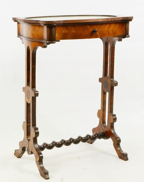 13: French Walnut Veneer Sewing Stand / Table