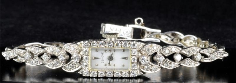 16: 14k white gold & diamond ladies geneve watch