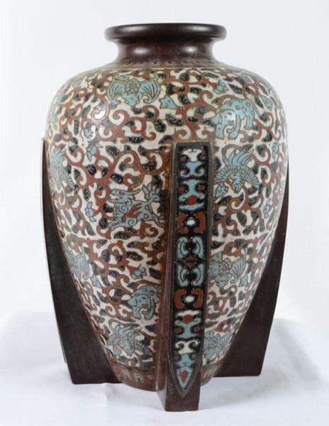 21: Chinese Bronze Cloisonne  Vase