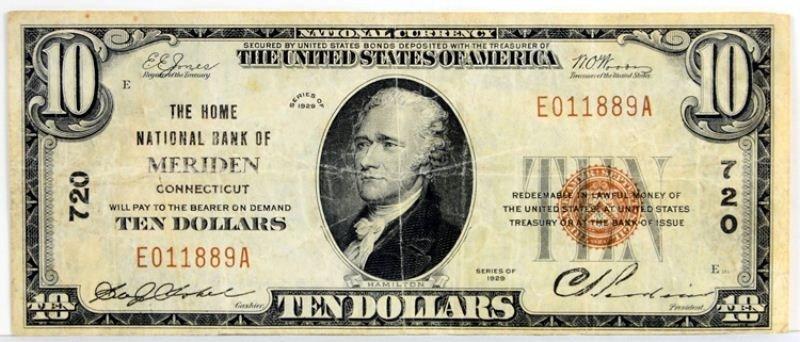 22: 1929 Meriden CT Natnl Bank $10 Natnl Currency Note