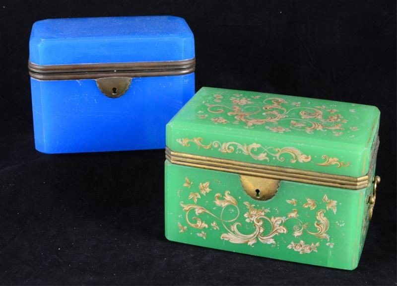 24: Green & blue French Opaline Glass Boxes