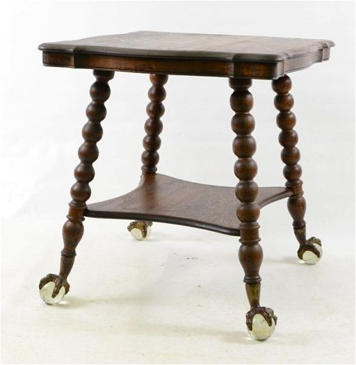 68 Oak Gl Ball And Claw Foot Table