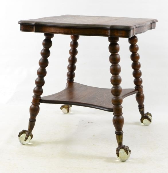 Oak glass Ball and claw foot table