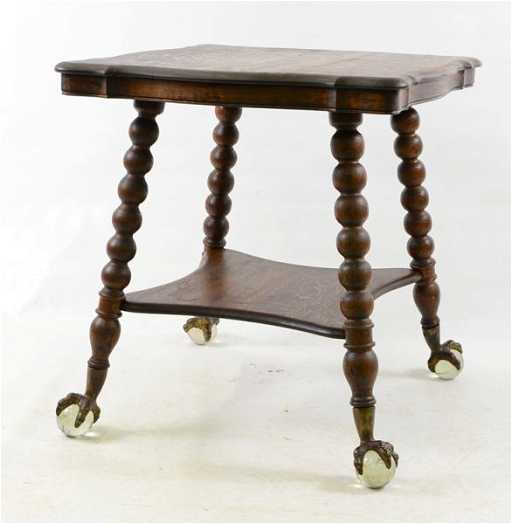 68: Oak Glass Ball And Claw Foot Table