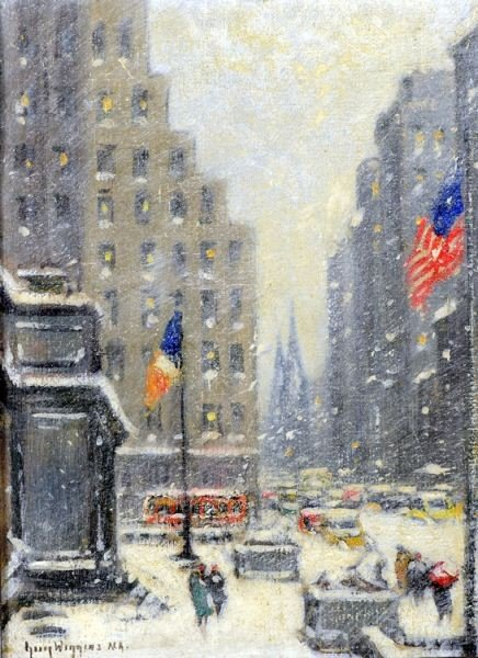 96: Guy Carleton Wiggins: New York Library in Storm