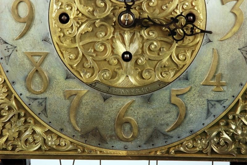106: Late 19th C. Tiffany & Co Carved Grandfather Clock - 6