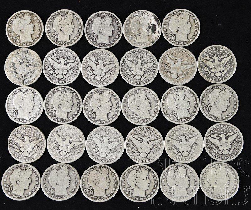 13: group of 29 Barber liberty head half dollars