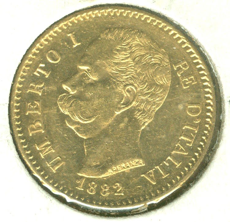 19: 1882 $20 Lire Umberto Gold Coin EF/AU