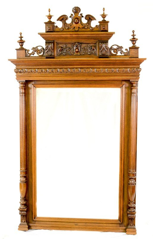 21: Tall Carved Belgian Walnut overmantle mirror