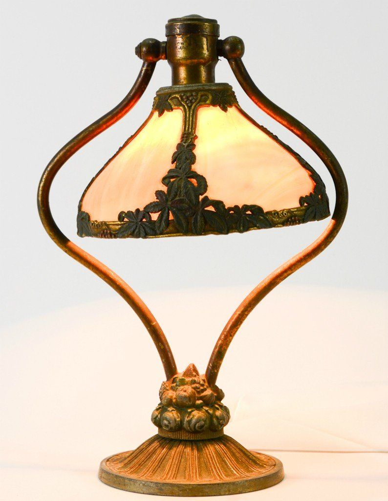 27: Bradley & Hubbard Lyre-form slag glass desk lamp