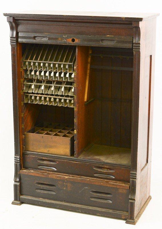 28: Mahogany Railroad Ticket Clerk Desk top Cabinet