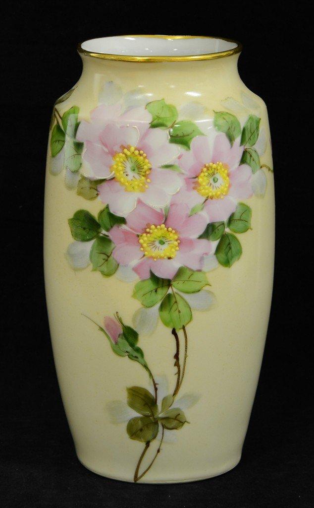 "29: Walter Wilson Wild Rose Hand Painted Vase 8.5"""