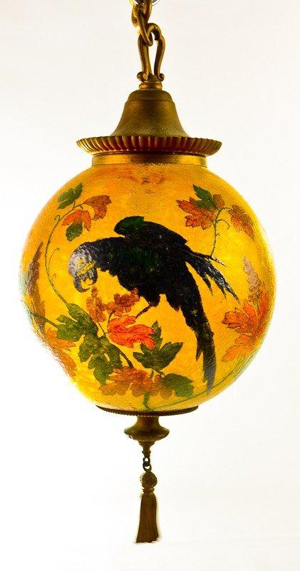 104: Handel Obverse Painted Parrot Hanging Globe Lamp