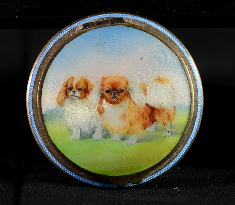 113: German Sterling Guilloche compact w/ Pekingese dog