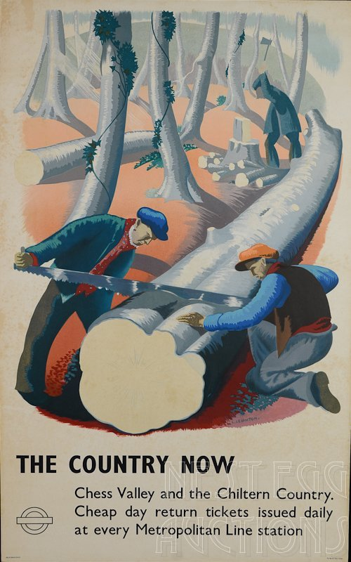 Clare Leighton, THE COUNTRY NOW Railroad Travel Poster