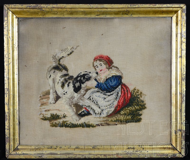 Framed Victorian Needlepoint of girl and dog