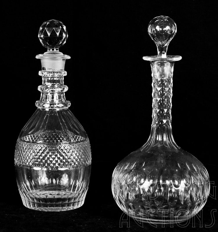 Two American Brilliant Cut Glass Decanters