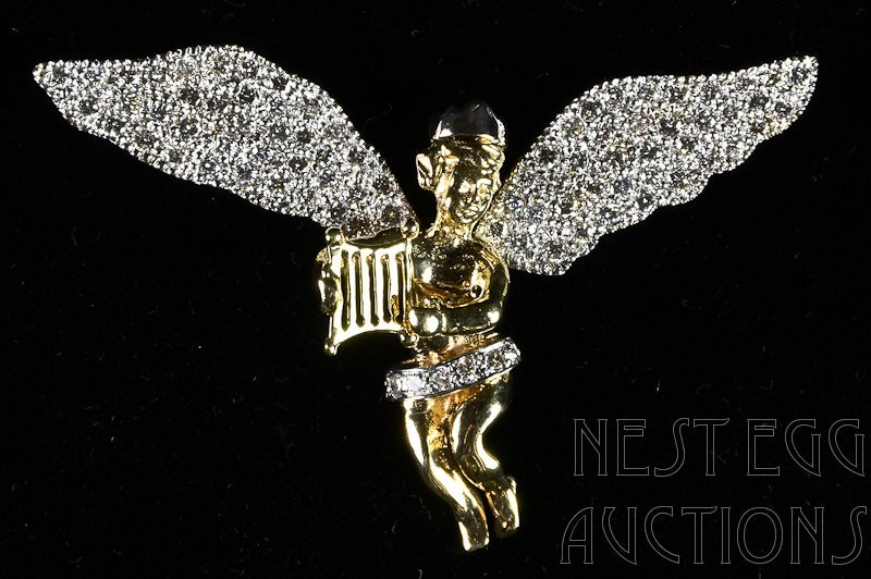 14K & Diamond Angel / Cherub Pin