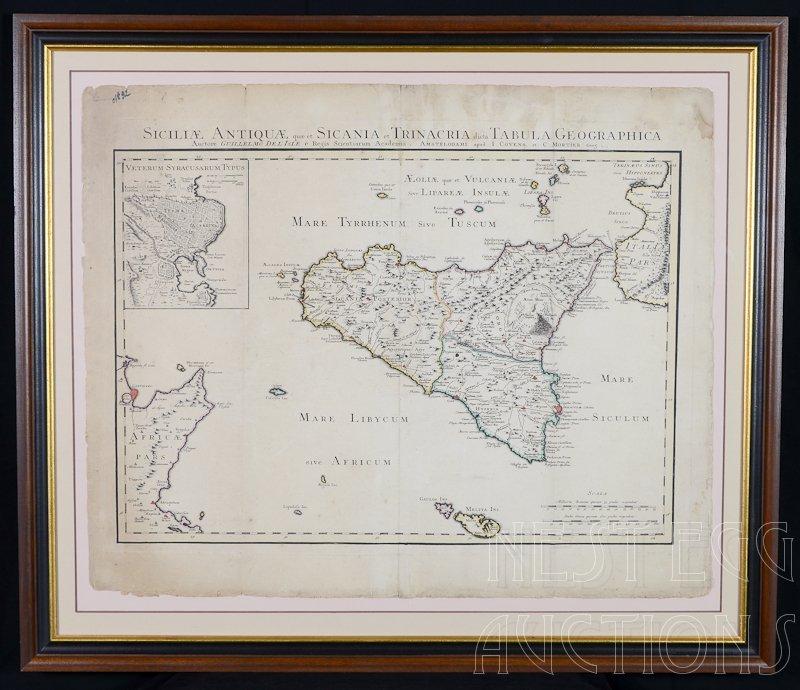Early Italian Map: Syracuse, Italy, 18th Century