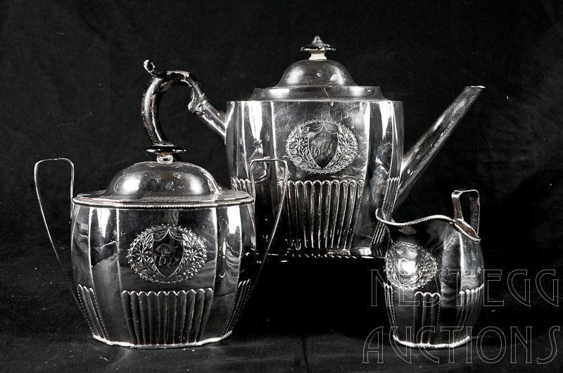 3 pc Period English Old Sheffield silver Plate Tea Set