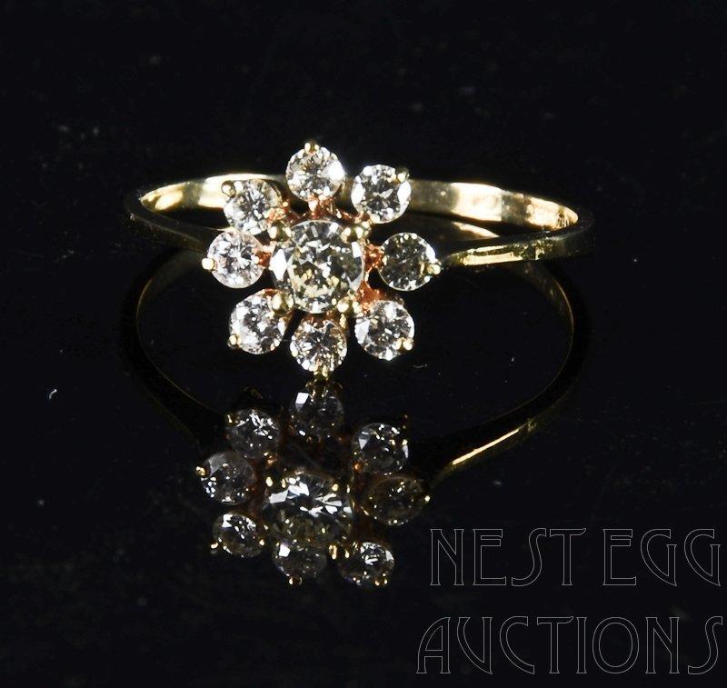 """18K Diamond """"Snowflake"""" Style Ring Size 8"""