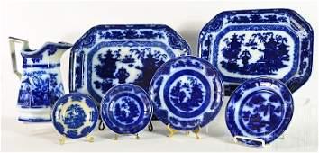 38 Pcs of English Flow Blue Stoneware (3 patterns)