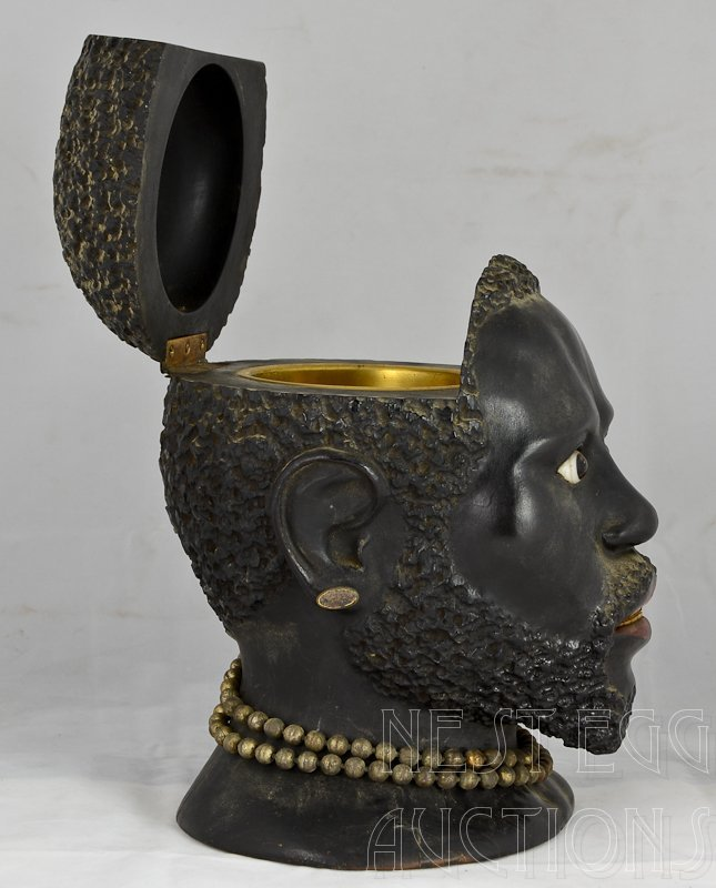 Carved wood Blackamoor Head Tobacco Jar Humidor - 2