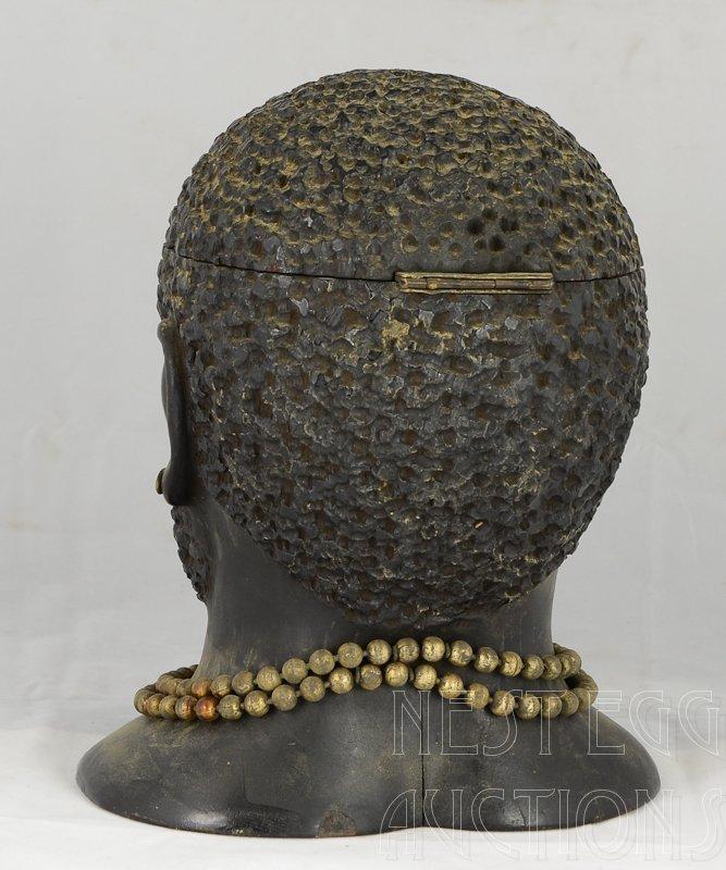 Carved wood Blackamoor Head Tobacco Jar Humidor - 3
