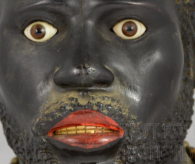 Carved wood Blackamoor Head Tobacco Jar Humidor - 4